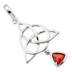 Triquetra - trinity knot red garnet 925 sterling silver pendant jewelry r43550