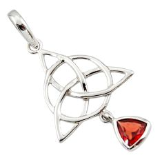 Triquetra - trinity knot red garnet 925 sterling silver pendant jewelry r43551