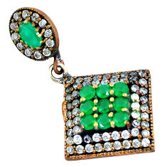 7.23cts turkish emerald (lab) topaz 925 sterling silver two tone pendant c25774