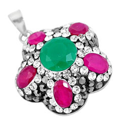 8.80cts turkish green emerald (lab) topaz 925 silver two tone pendant c25773