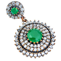 8.52cts turkish green emerald (lab) topaz 925 silver two tone pendant c25775
