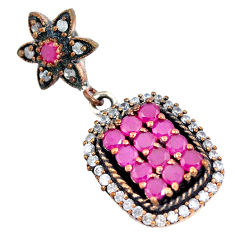 7.62cts turkish red ruby (lab) topaz 925 sterling silver two tone pendant c25778