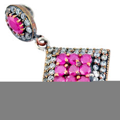 7.97cts turkish red ruby (lab) topaz 925 sterling silver two tone pendant c25780