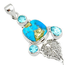 9.67cts turquoise pyrite 925 silver deltoid leaf pendant r78089