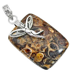 29.77cts turritella fossil snail agate silver angel wings fairy pendant r91261
