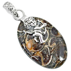 17.37cts turritella fossil snail agate silver cupid angel wings pendant r91263