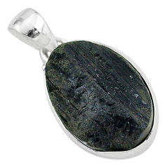 Ultimate protection black tourmaline raw 925 sterling silver pendant r96715