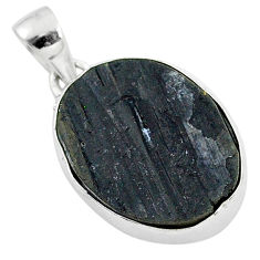 Ultimate protection black tourmaline raw 925 sterling silver pendant r96721