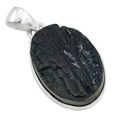 Ultimate protection black tourmaline raw 925 sterling silver pendant r96725
