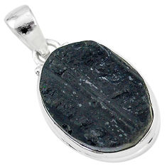 Ultimate protection black tourmaline raw 925 sterling silver pendant r96732