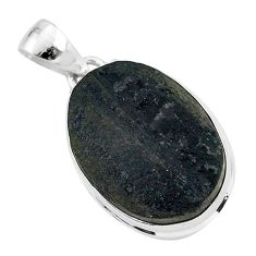 Ultimate protection black tourmaline raw 925 sterling silver pendant r96736
