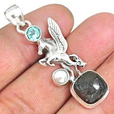 8.42cts unicorn black honduran matrix opal topaz 925 silver pendant r90304