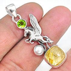 7.83cts unicorn golden tourmaline rutile peridot 925 silver pendant r90312