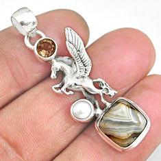 7.94cts unicorn multicolor mexican laguna lace agate 925 silver pendant r90320