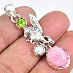 7.05cts unicorn pink kunzite peridot 925 sterling silver pendant jewelry r90329