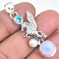 7.08cts unicorn rainbow moonstone topaz 925 sterling silver pendant r90308