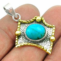 4.93cts victorian blue arizona mohave turquoise silver two tone pendant t55720