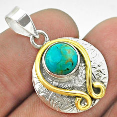 3.26cts victorian blue arizona mohave turquoise silver two tone pendant t55774
