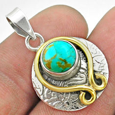 3.13cts victorian blue arizona mohave turquoise silver two tone pendant t55786