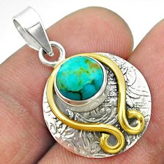 3.32cts victorian blue arizona mohave turquoise silver two tone pendant t55788