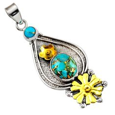 5.51cts victorian blue copper turquoise 925 silver two tone pendant d44014