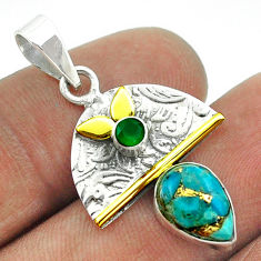 2.93cts victorian blue copper turquoise 925 silver two tone pendant t55816