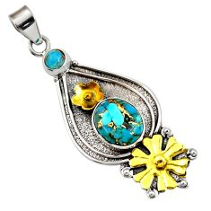 Clearance Sale- 5.62cts victorian blue copper turquoise silver two tone flower pendant d44012