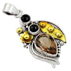 Clearance Sale- 7.99cts victorian brown smoky topaz onyx 925 silver two tone pendant d44072