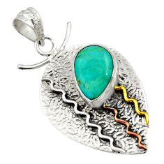 6.48cts victorian green arizona mohave turquoise silver two tone pendant d44912