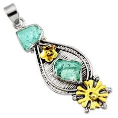 Victorian natural aqua aquamarine rough silver two tone flower pendant d44028