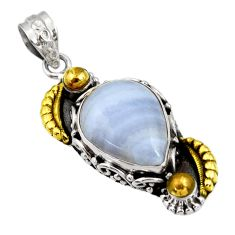 Clearance Sale- 13.90cts victorian natural blue lace agate 925 silver two tone pendant d44066