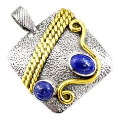 3.24cts victorian natural blue lapis lazuli 925 silver two tone pendant d44021