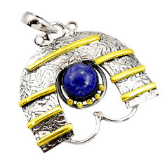 Clearance Sale- 3.13cts victorian natural blue lapis lazuli 925 silver two tone pendant d44045