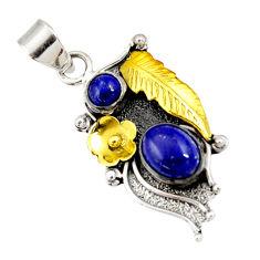 n natural blue lapis lazuli 925 silver two tone pendant d44076