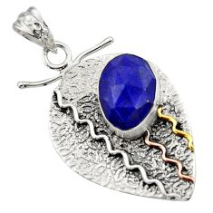 Clearance Sale- 6.54cts victorian natural blue lapis lazuli 925 silver two tone pendant d44910