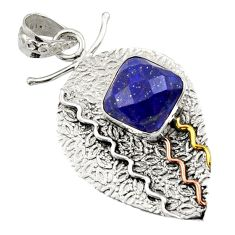Clearance Sale- 6.75cts victorian natural blue lapis lazuli 925 silver two tone pendant d44914