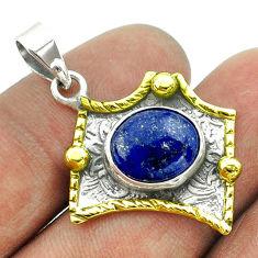 5.16cts victorian natural blue lapis lazuli 925 silver two tone pendant t55716