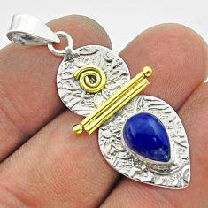 2.41cts victorian natural blue lapis lazuli 925 silver two tone pendant t55745