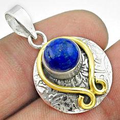 3.48cts victorian natural blue lapis lazuli 925 silver two tone pendant t55770
