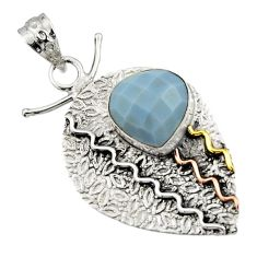 Clearance Sale- 6.32cts victorian natural blue owyhee opal 925 silver two tone pendant d44908