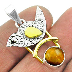 2.93cts victorian natural brown tiger's eye 925 silver two tone pendant t55808
