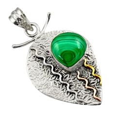 Clearance Sale- 6.20cts victorian natural green malachite 925 silver two tone pendant d44911