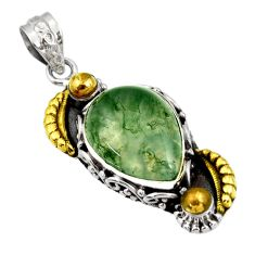 Clearance Sale- 13.34cts victorian natural green moss agate 925 silver two tone pendant d44064