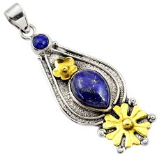 Clearance Sale- 7.62cts victorian natural lapis lazuli 925 silver two tone flower pendant d44010