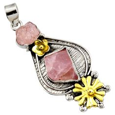 18.96cts victorian natural morganite rough silver two tone flower pendant d44015