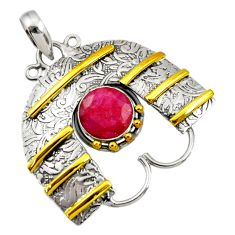 Clearance Sale- 4.68cts victorian natural red ruby 925 sterling silver two tone pendant d44046