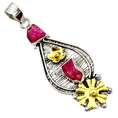 Clearance Sale- 7.37cts victorian natural ruby rough 925 silver two tone flower pendant d44029