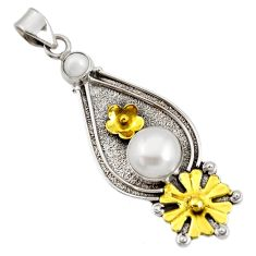 Clearance Sale- 5.46cts victorian natural white pearl round 925 silver two tone pendant d44069