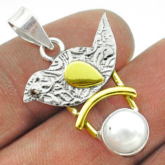 2.93cts victorian natural white pearl round 925 silver two tone pendant t55820