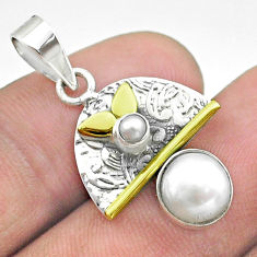 3.29cts victorian natural white pearl round 925 silver two tone pendant t55823